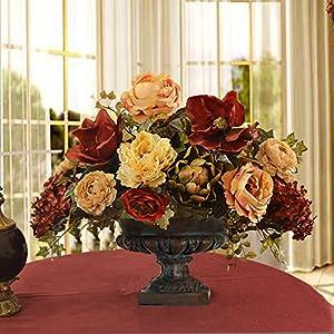Burgundy Magnolia and Peony Grande Silk Floral Centerpiece 3