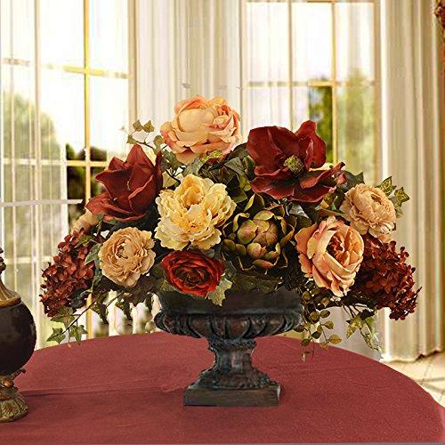 Large silk flower arrangements amazon burgundy magnolia and peony grande silk floral centerpiece mightylinksfo