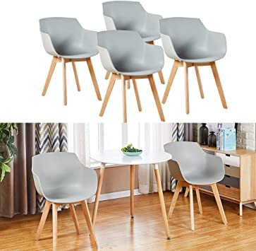 HJ WeDoo 4er Set Wohnzimmerstuhl Esszimmerstuhl mit Armlehne und Buchenholz Retro Design Stuhl für Büro Lounge Küche Wohnzimmer (Grau)