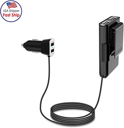 Compatible for iPhone Xs//Max//XR//X//8 Front Back//Rear Seat 4.8A Adapter Samsung Galaxy Note9//Note8//S9//S9+ and More iPad Pro//Air 2//Mini Wishinkle 4 Port Multi USB Passenger 4.92ft Car Charger