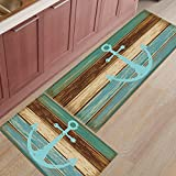 Grey,Retro Wood Grain with Anchor Non-Slip Rubber Welcome Mats Floor Rug for Kitchen/Bathroom/Front Entryway, Set of 2-15.7x23.6in+15.7x47.2in