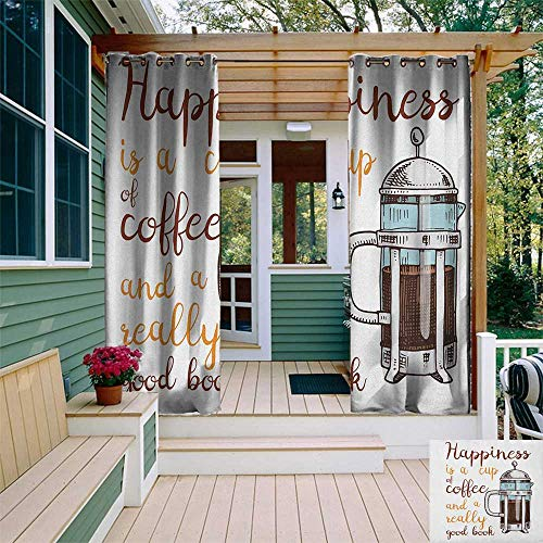 leinuoyi Coffee, Outdoor Curtain Waterproof, French Press with Hot Aromatic Beverage and Hand Written Style Inspirational Quote, for Patio Furniture W72 x L108 Inch Multicolor