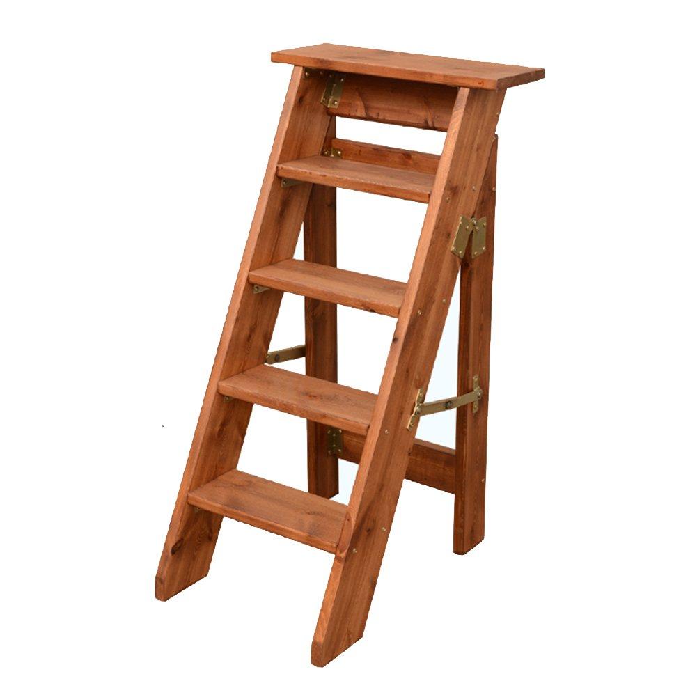 PENGFEI 折りたたみステップチェア ヘリングボーンのはしご 家の改築 昇順 簡単な保管 パイン材 5つのステップ 4色 脚立 踏み台ステップ チェア (色 : ブラウン ぶらうん) B07DNCZHB7 ブラウン ぶらうん ブラウン ぶらうん
