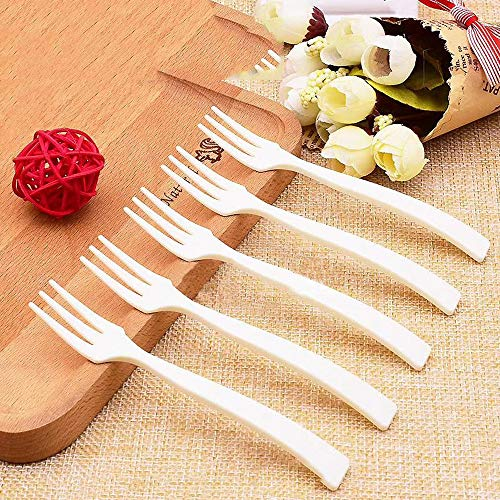 Xeminor Small Three-Toothed Fork Disposable Plastic Fork Kitchen Supplies for Banquet Cake Fruit White 200 Piece ()