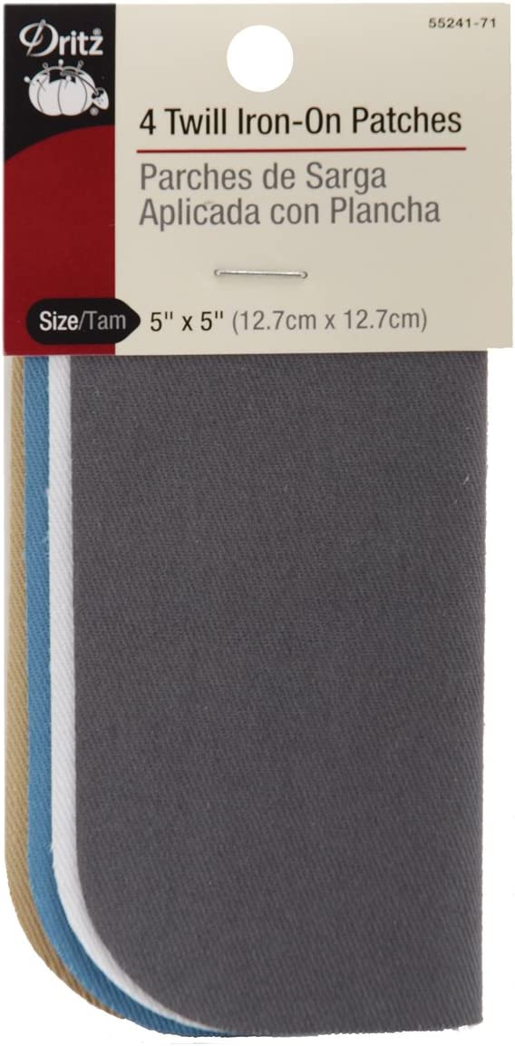 Dritz 55241-71 Patches, Iron-On, Twill, Light Colors, 5 x 5-Inch (4-Count)