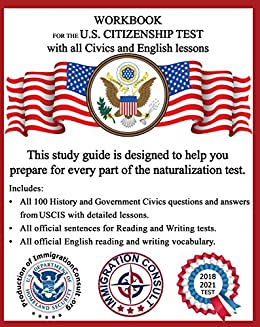 amazon com workbook for the us citizenship test with all civics and