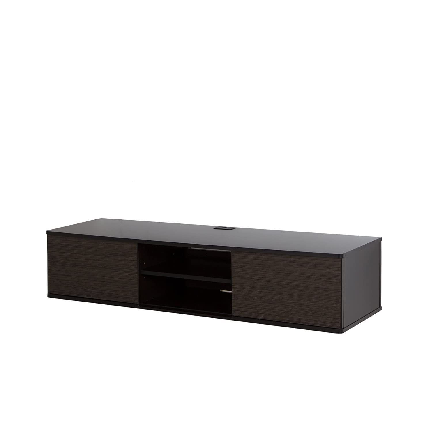 South Shore Furniture Agora Wall Mounted Media Console 56 Inch  # Meuble Tv Metal Noir