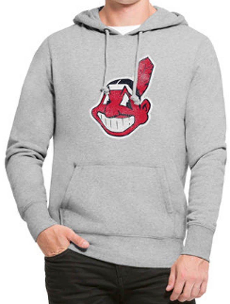 '47 Brand Cleveland Indians Knockaround Hoodie MLB Sweatshirt Grey