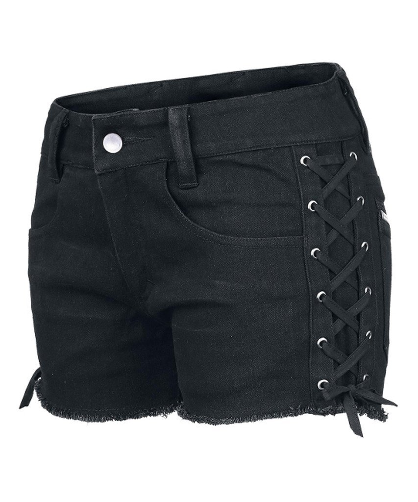 WellDressing Junior's Punk Drawstring Black Stretchy Jean Shorts