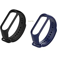 MI cosa Black and Blue Combo (only for mi Band 3, 3i and 4) Adjustable Xiaomi Mi Band 3/ Mi Band 4 Watchband Silicone Strap Black and Blue Colour Band Bracelet (Not Compatible with Mi Band 1/2/HRX)
