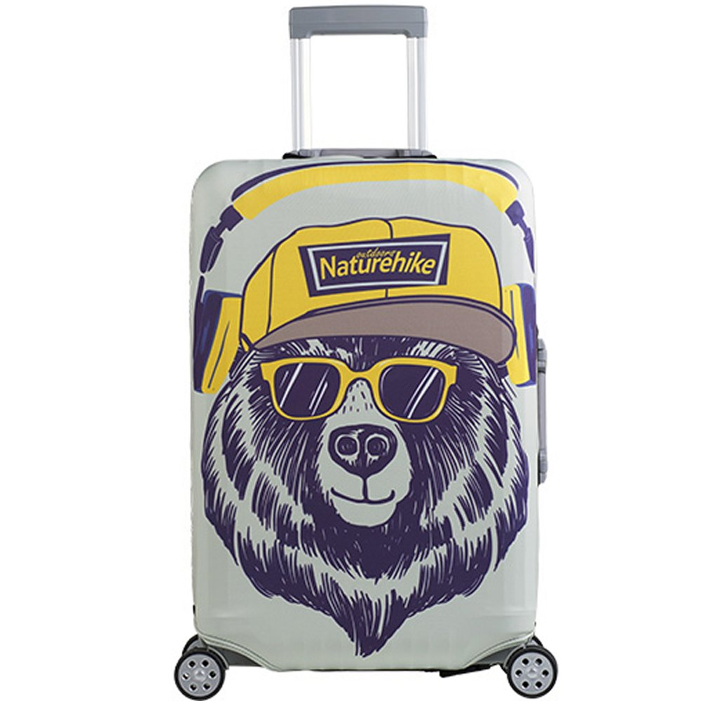 Tentock High Elasticity Luggage Protector Cute Cartoon Suitcase Cover with Zipper and Belt for 20/24/28/30 inch Suitcase(Glass bear Right opening M)