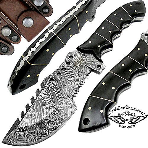 Buffalo Horn 9.5 Tracker Fixed Blade Hand Made Damascus Steel Hunting Knife 100 Prime Quality