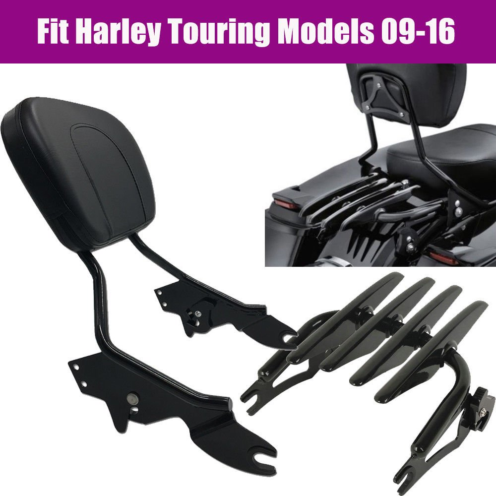 TJMOTO Black Detachable Backrest Sissy Bar Stealth Luggage Rack For Harley Davidson Touring 2009-2016 Electra Glide Road Glide Road King Street Glide by TJMOTO