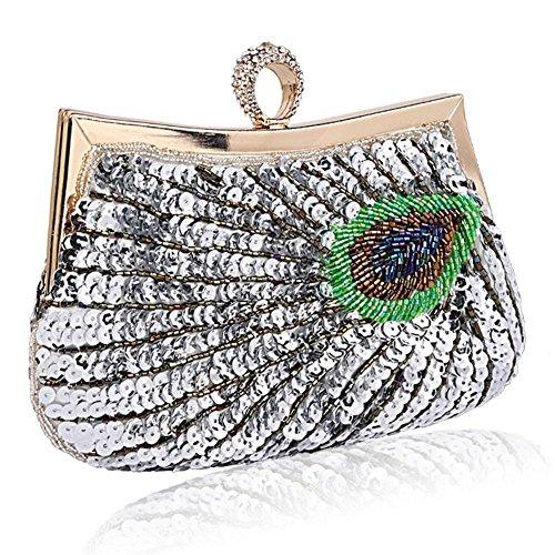 de cm pochettes dinner pour party mariage de femmes x paillettes sac 18 silver peacock perlé soirée antique 23 Pa8vq