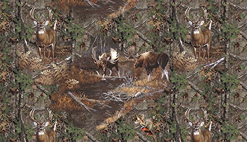 REALTREE COTTON FABRIC SOLD BY THE YARD-REAL TREE MOOSE COTTON FABRIC-REALTREE CAMOUFLAGE MOOSE FABRIC