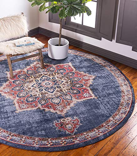 Unique Loom Utopia Collection Traditional Medallion Vintage Warm Tones Dark Blue Round Rug (4' 0 x 4' 0) (Rug Traditional Round Cream)