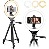 EICAUS 10'' Ring Light with Stand and Phone Holder, Cell Phone Tripod with Ringlight and Phone Holder, Selfie Ring Light…