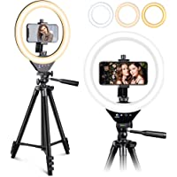 """EICAUS 10"""" Ring Light with Stand and Phone Holder, Cell Phone Tripod with Ringlight for Live…"""