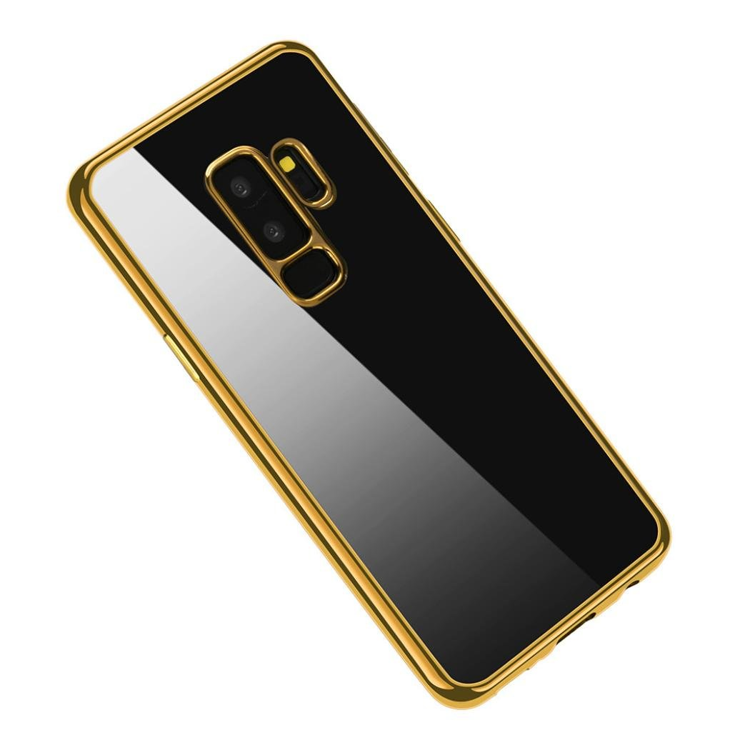 6.2Inch Clear Silicone TPU Plating Case Slim Shock Cover for Samsung Galaxy S9 Plus (Gold)
