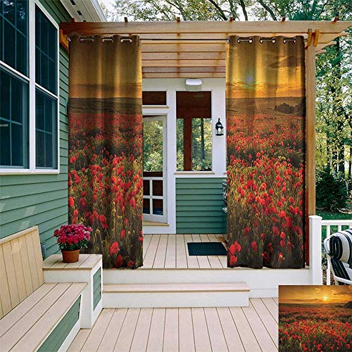 (leinuoyi Flower, Outdoor Curtain Set of 2 Panels, Poppy Field at Sunset Sun Beams Meadow Cloudscape Wildflower Scene, Outdoor Privacy Porch Curtains W120 x L96 Inch Marigold Scarlet and Green)
