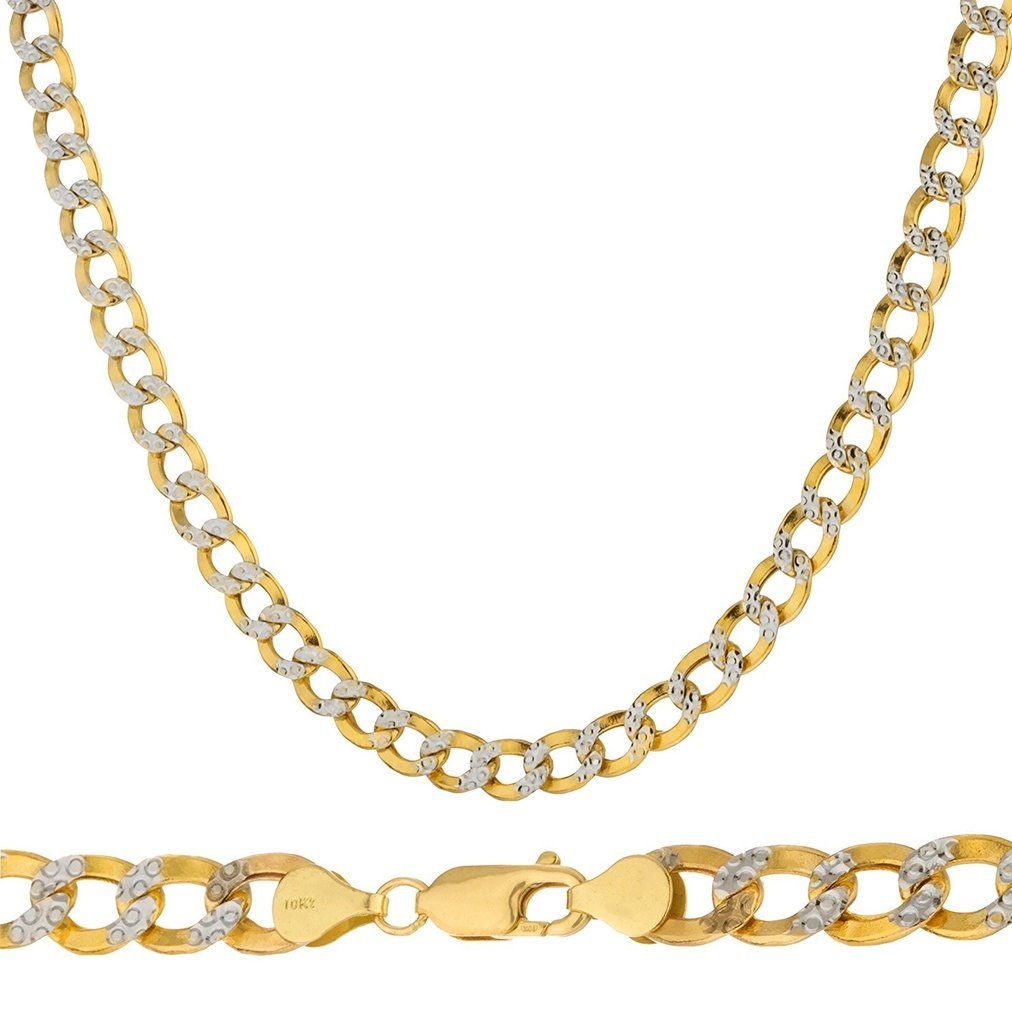 10K Yellow Gold 5mm Thick Cuban Curb Diamond Cut Pave Chain Necklace -22'' by PORI JEWELERS (Image #1)