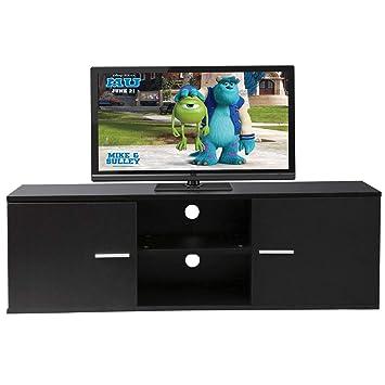 Amazon Com Black 55 Wood Tv Stand Media Storage Console Table