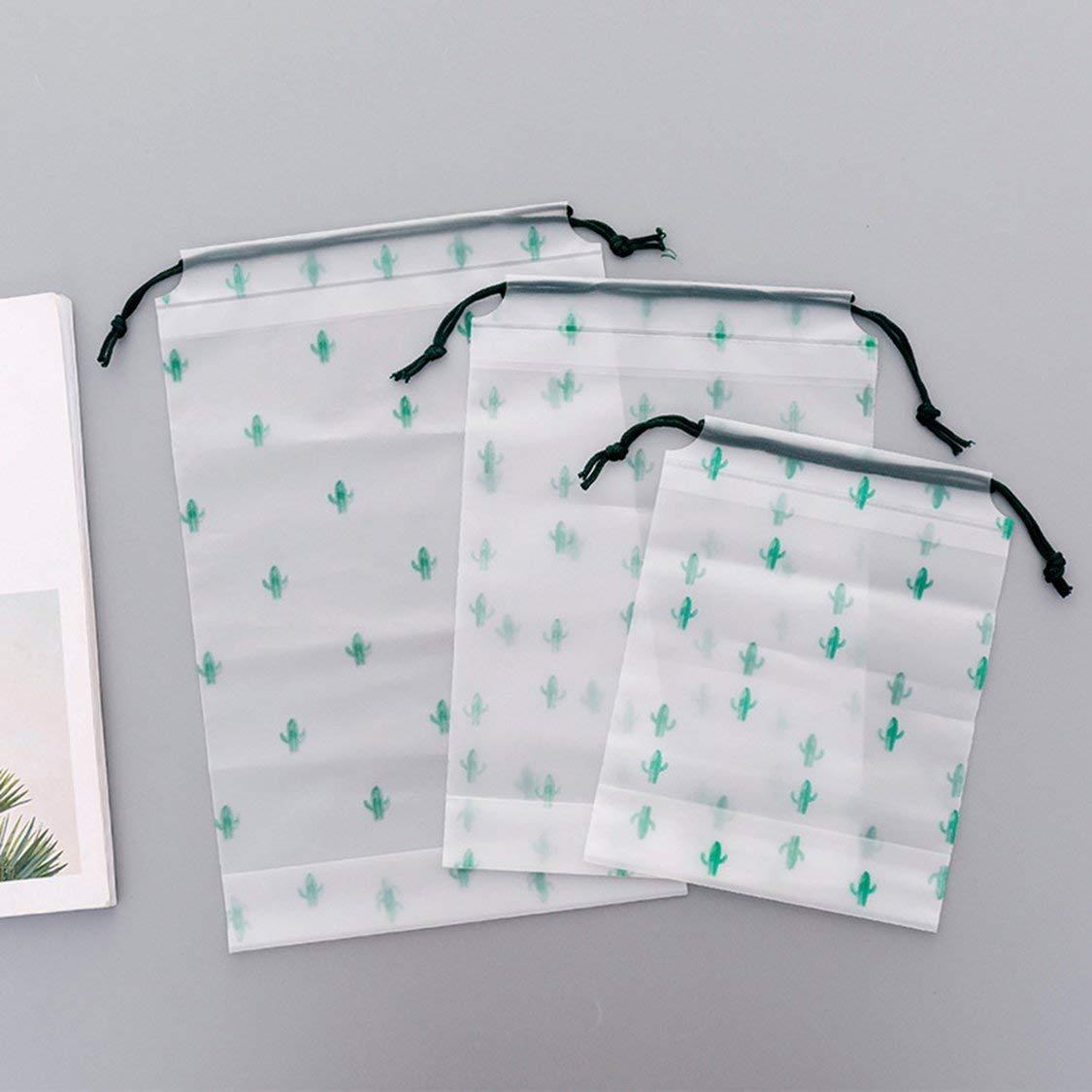 L Cactus Cordon /À Poche Cordon Petite Frais Frais Gommage Transparent /Étanche Sac De Rangement De Voyage Sac De Rangement De V/êtements De Voyage Blanc /& Vert