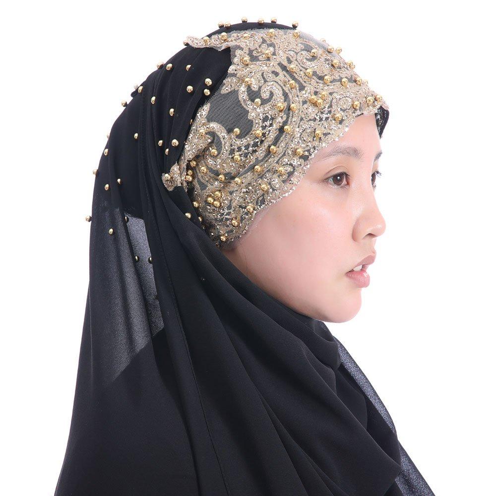 Lina & Lily Chiffon Muslim Hijab Shawl Gold Glitters Beads (Black)
