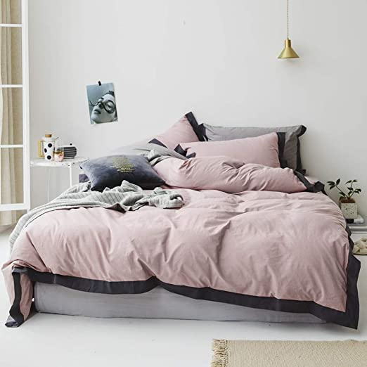 Amazon Com Lifetb Solid Duvet Cover Queen Washed Cotton Duvet