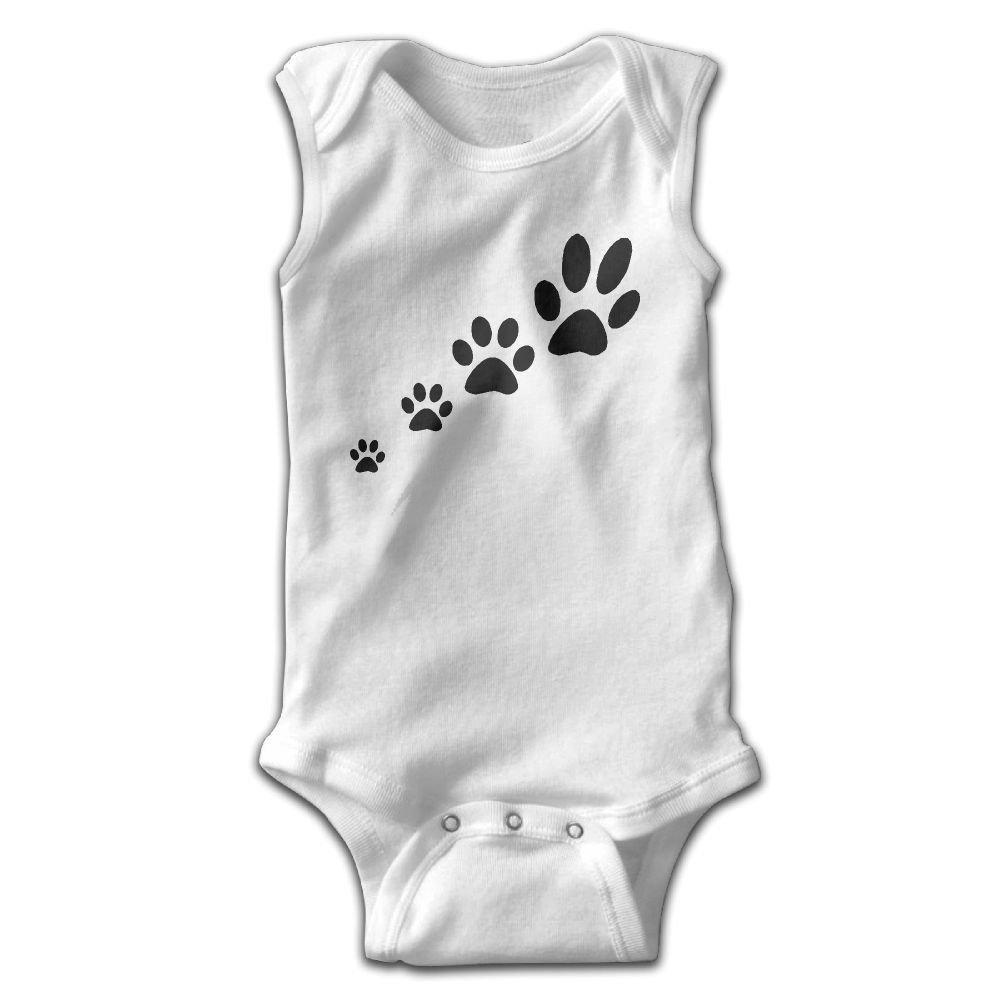 Dog Paw Infant Baby Boys Girls Infant Creeper Sleeveless Onesie Romper Jumpsuit White