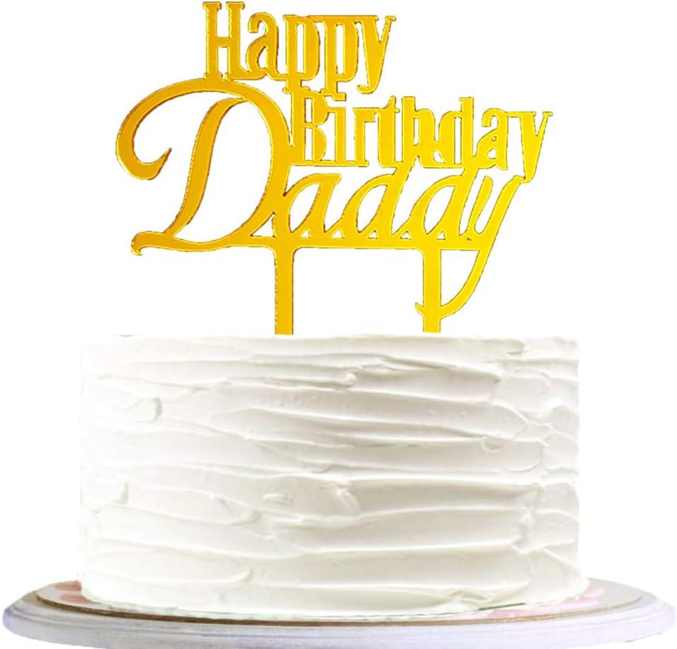 Tremendous Amazon Com Nmas Happy Birthday Daddy Cake Topper Acrylic Mirror Personalised Birthday Cards Paralily Jamesorg