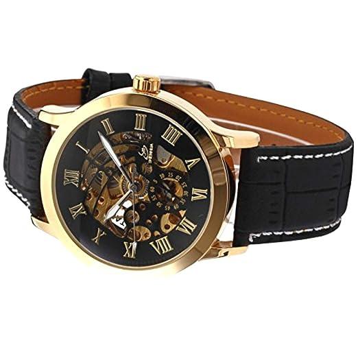 Shenhua 9269 Skeleton - Reloj de pulsera para hombre, correa de piel, color negro y dorado: Amazon.es: Relojes