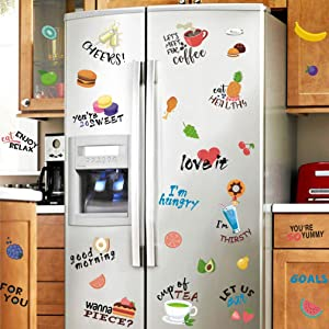 TOARTi Colorful Food Wall Decal (32 Decals), Apple Cake Fruit Dessert Hamburger Donuts Stickers, Dining Quotes Wall Art Funny Words Kitchen Quotes Decals for Kitchen Fridge Dining Room Decor