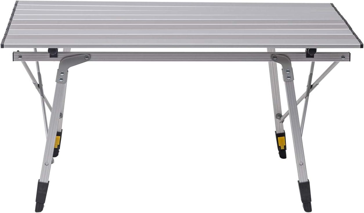 E-starain Mesa de Picnic Mesa de Camping Mesa de Jardín Mesa para Acampada Mesa Auxiliar Plegable y Ajustable en Altura 90x52.2X(45-72) cm (L x B x H) LENO0010