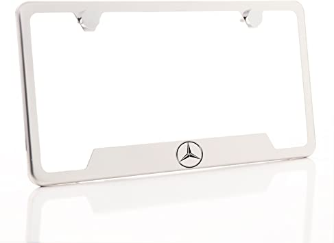 "2 pcs NEW /"" MERCEDES-BENZ LOGO /"" Stainless Steel Chrome license plate frame"