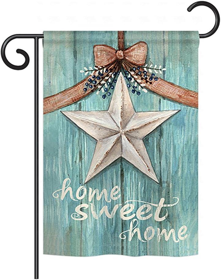 "Breeze Decor G150067-BO Welcome White Barn Star Inspirational Sweet Home Decorative Vertical Garden Flag, 13""x 18.5"", Multi-Color"