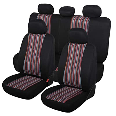 Autojoy Baja Seat Covers, 7pc Stripe Multi-Color Saddle Blanket Weave Universal Bucket Seat Cover Fit for Car,Vans,SUV(Red & Black): Automotive