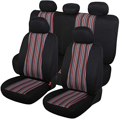 2 seat Covers+2 seat Belt Covers Copap Seat Covers Universal for Front Seat Baja Stripe Colorful Bucket Covers for Car SUV /& Truck