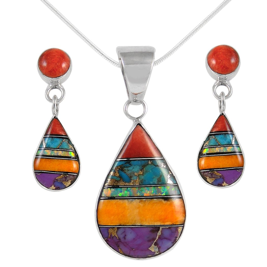 Matching Set Turquoise & Gemstone 925 Sterling Silver (Pendant, Earrings, Necklace 18'') Multi-C01