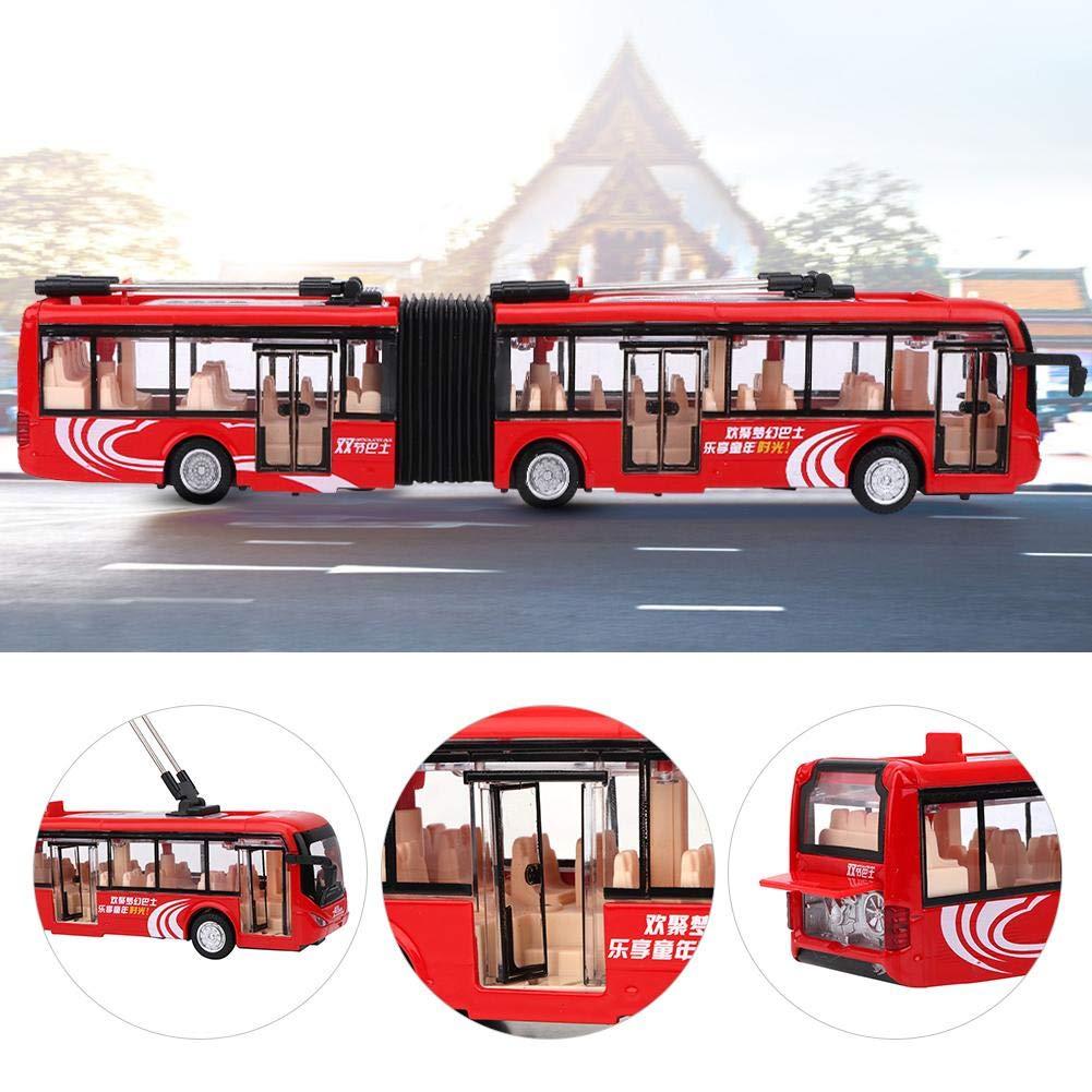 Tnfeeon 1:48 Veh/ículos de autob/ús articulados Grandes Modelo de autob/ús Fundido a Troquel con Ruedas m/óviles Presente para ni/ños Rojo