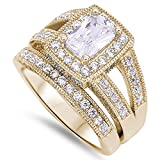 CloseoutWarehouse Cubic Zirconia Set of 2 Princess Cut Center Halo Wedding Set Ring Yellow Gold-Tone Plated Sterling Silver Size 12