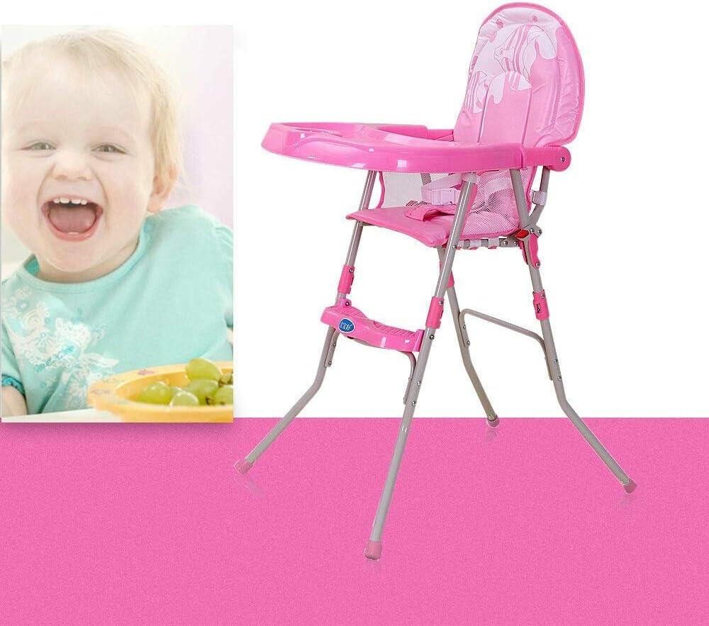 chaise haute r/églable et pliable Gain de place pour les enfants de 6 mois /à 3 ans 14kg Chaise haute b/éb/é Rose