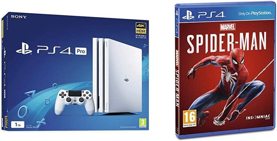 Sony PlayStation 4 Pro 1 TB (White) + Marvels Spider-Man [Importación inglesa]: Amazon.es: Videojuegos