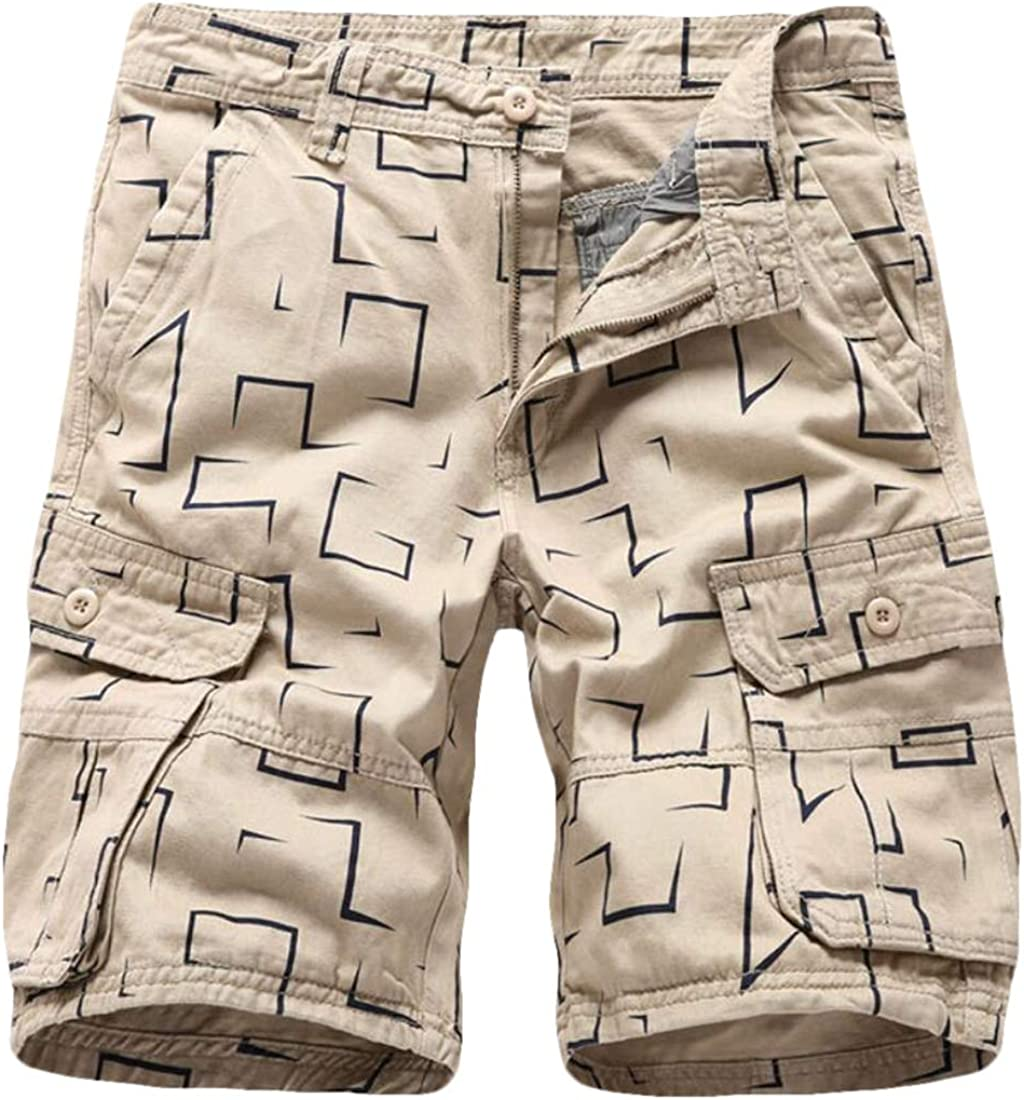 Mens Outdoor Casual Lightweight Water Summer Print Cargo Shorts