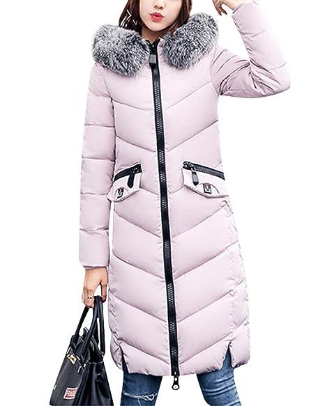 ZongSen Donne lunga Piumino Cappotto Cappuccio Cappotto di cotone grande  colletto Pink M 1eb5d27fd4e