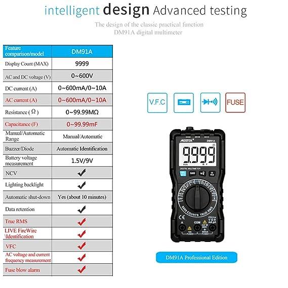 KKmoon mestek 9999 contadores Digital Multímetro protección total Mini DMM multifuncional portátil Multi metro Vrai RMS medición AC/DC voltaje corriente ...