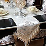 Ethomes European Style High precision Relief Sculpture Jacquard Weave Table Runner for Dinning/Tea Table and TV Set with Handmade Pendant Beige 87 inch approx