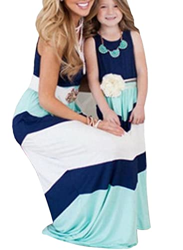 Rainlover Mother and Daughter Stripe Stitching Boho Long Maxi Dress