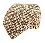 Elfeves Men's Skinny Knit Tie Vintage Smart Solid Color Formal Necktie for Groom (One Size, Beige Yellow)