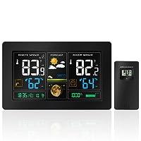 Protmex Prévisions sans Fil Station météo, PT3378 numérique des Couleurs with Alerte et Température/Humidité / Baromètre/Alarme / Phase de Lune/Horloge Atomique Charge USB avec capteur extérieur
